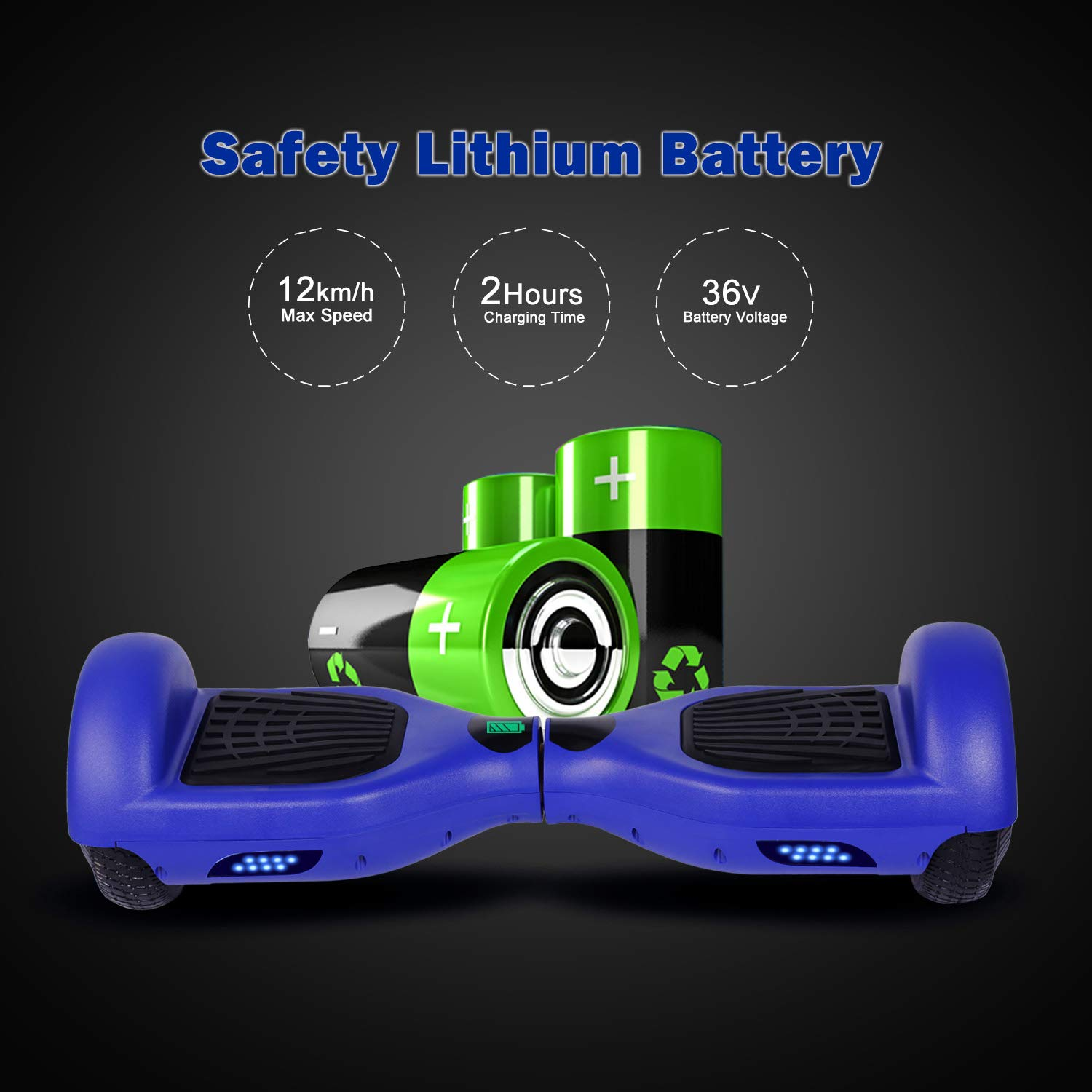 SISIGAD Hoverboard, Self Balancing Hoverboard, 6.5'' Two-Wheel Self Balancing Scooter, Smart Hover Board for Kids Gift, Adult Electric Scooter, with LED Lights and Free Carrying Bag UL2272 Certified by SISIGAD (Image #3)
