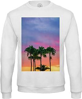 Fabulous Felpa da Uomo Magnifico Paesaggio Palme nel Sole Tramonto Nuvole Blu Rosa Arancione Giallo Natura esotica