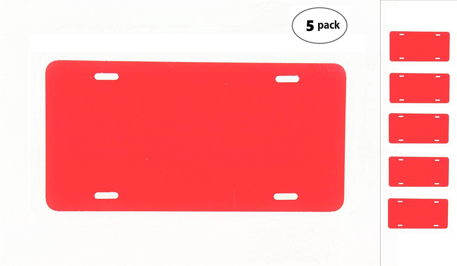 Anodized Aluminum License Plate Blank Heavy Gauge .040 1mm - 12x6 Red Fire Partsapiens Corp