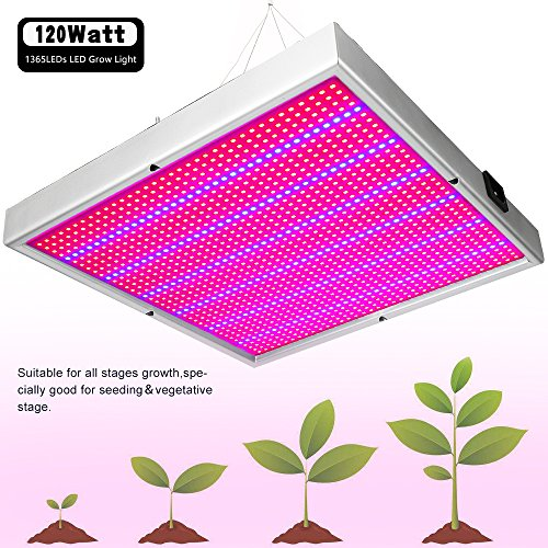 Derlight 120w Led Grow Light with 1365pcs SMD2835, Plant Growing lamp for Indoor Gardening Hydroponics System Greenhouse Flowering Plant Lighting, 85-265v with Hanging Kit (120W) by Derlights