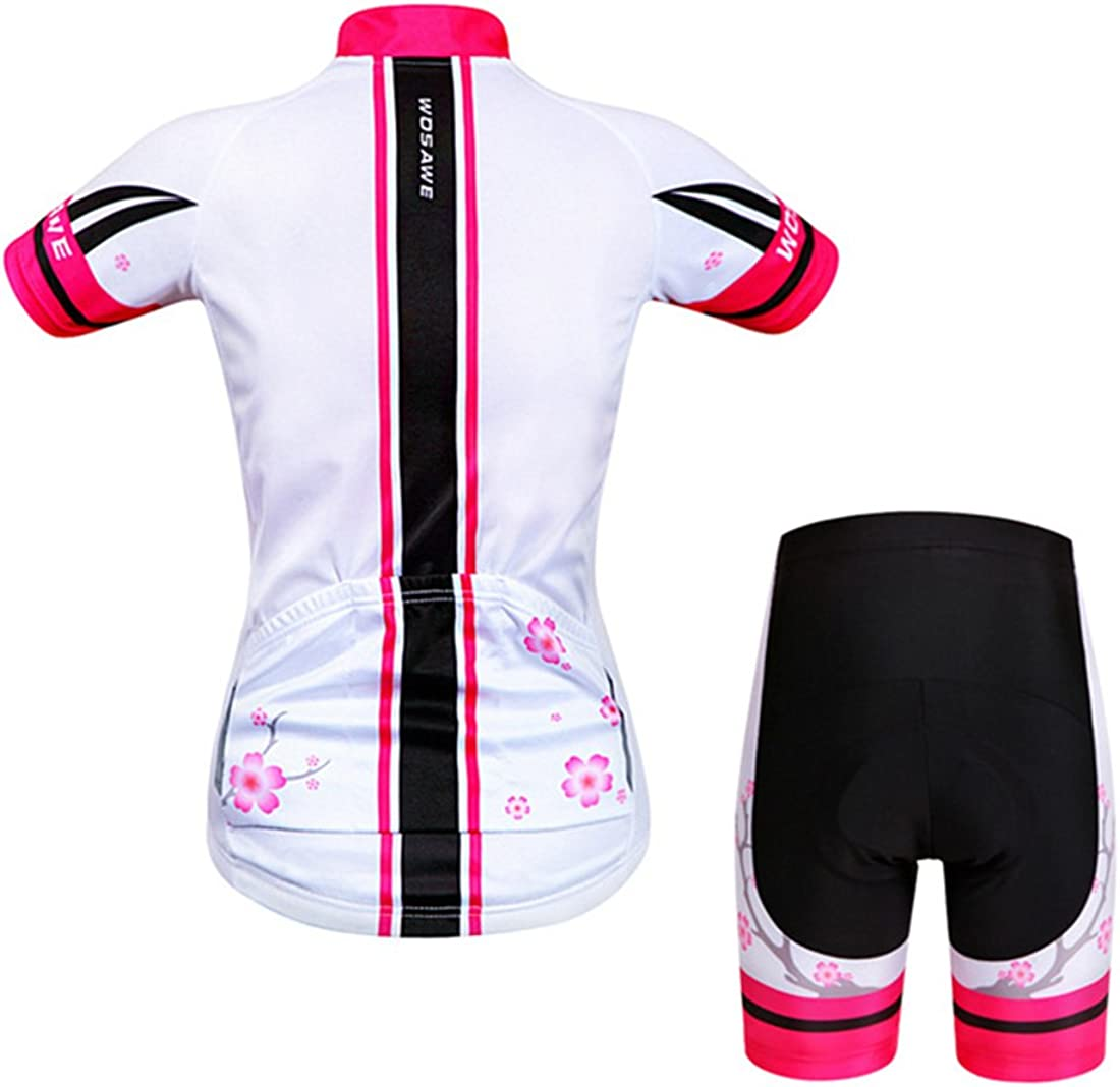 Gwell Womens Floral Cycling Clothing Set Short Sleeve Jersey Cycling Shorts with Seat Padding