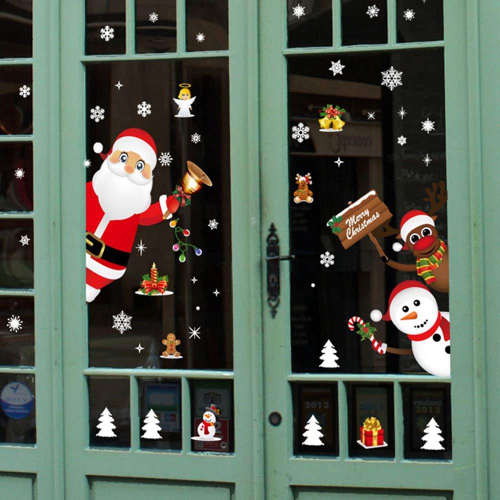 YangHai Adesivi per finestre di Natale Babbo Natale Albero di Natale Rimovibile Fai da Te per Porte e finestre Adesivi murali Decalcomania per vetrina (Rosso)