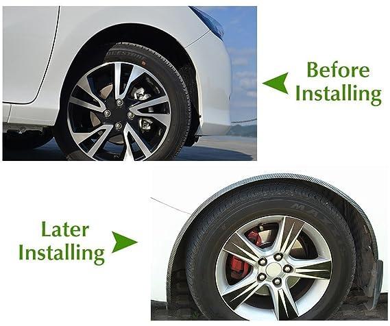 autopdr Universal coche embellecedores de fibra de carbono de goma camión rueda ceja Flare arco borde labios Fender Flares pantalla: Amazon.es: Coche y moto