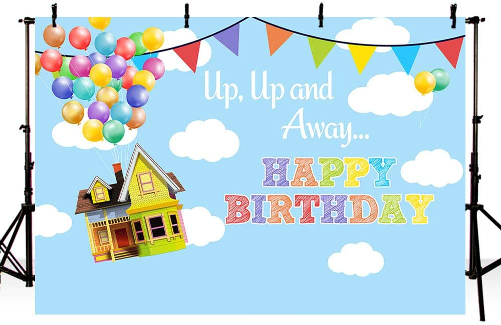 MEHOFOTO UP Birthday Party Photo Studio Backdrop Props Boy Adventure Happy Birthday Up Up and Away Balloons Party Decorations Blue Sky and White Clouds Photography Background Banner 7x5ft