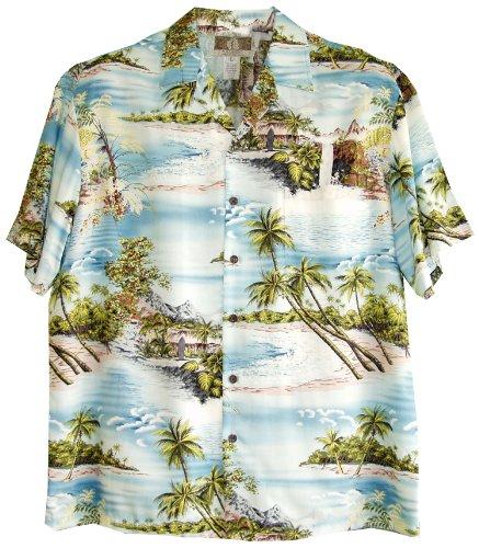 RJC Mens Paradise Island Surf Rayon Shirt Blue XL