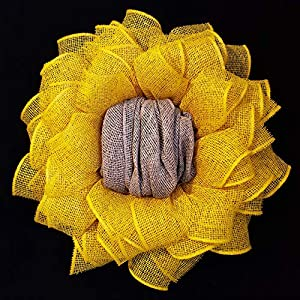 Fall Spring Everyday Yellow Burlap Sunflower Wreath for Front Door Home Wall Decor 24 in 36