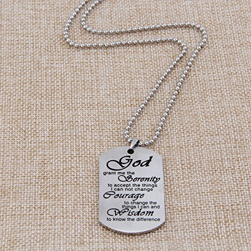 Meaningful Words Hand Stamped Stainless Steel Dog Tag Pendant Necklace Inspirational Gifts (Serenity Prayer)