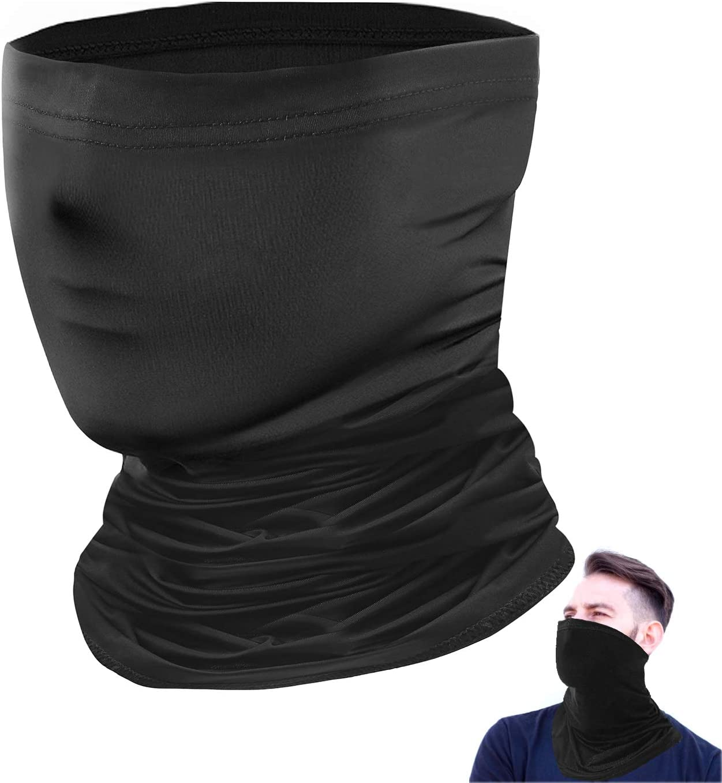 Hurdilen Máscara de Cuello de Verano la Cara Protección Solar - Máscara de Seda de Hielo - Mascarilla Transpirable Anti-UV - Máscara Deportiva al Aire Libre para Hombres y Mujeres(Negro)