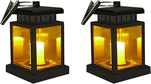 Solar Lantern Waterproof Hanging Solar Light Outdoor Garden Umbrella Lanterns Dusk to Dawn Auto On Off LED Security Night Light Lamp with Clip for Garden Patio Decoration Solar Candle Lantern