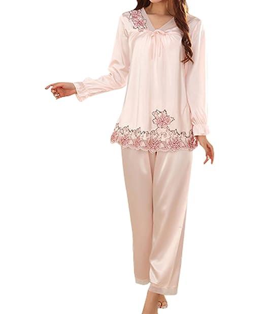 Señora Seda De La Manera V-cuello Pijama De Seda De Manga Larga,LightPink