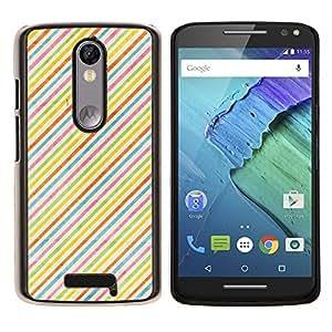 EJOOY---Cubierta de la caja de protección para la piel dura ** Motorola Moto X3 3rd Generation ** --Rayas de colores del arco iris de fondo de pantalla Red