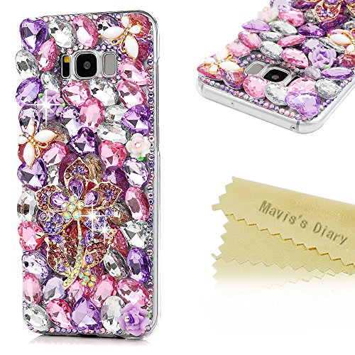 S8 Plus Case,Samsung Galaxy S8 Plus Case 3D Handmade Bling Colorful Diamonds Purple Flower Butterlies Shiny Sparkle Rhinestone Gems Crystal Clear Full…