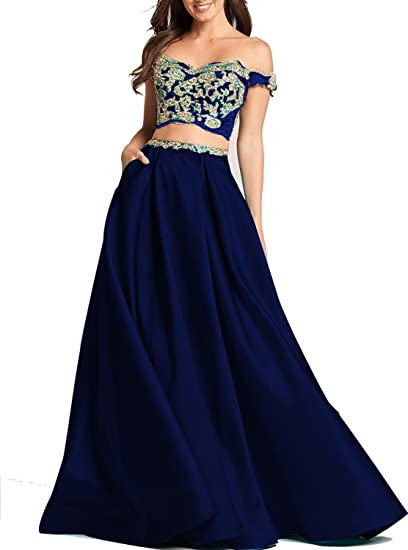 Zhixingkj Womens Two Pieces Off Shoulder Prom Dress With Gold Lace