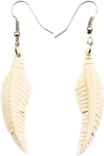 Amazon Com 2 4 Inch Hand Carved Bone Feather Fashion Dangle Drop Hook Earrings Handmade Women Jewelry Fa026 Jewelry