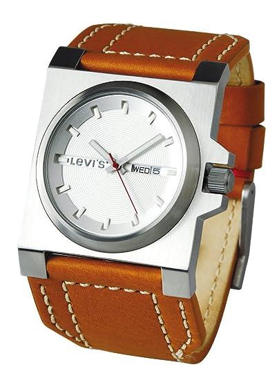 91e20a79d7ad Levis L002GUCWRM - Reloj analógico de caballero de cuarzo con correa de piel  marrón - sumergible a 30 metros  Amazon.es  Relojes