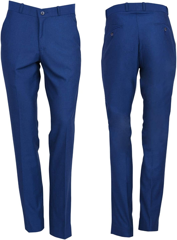 Mens Black Retro Flat Fronted Sta Press Trousers Mod Skin 60s 70s Slim Fit Pants