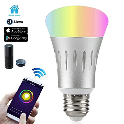 Wi-Fi Smart LED Light Bulb, Dimmable 60W Equivalent(7W), Smartphone ...