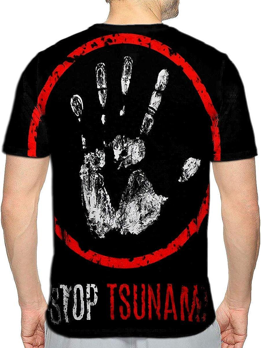 Randell 3D Printed T-Shirts Conceptual Cataclysms Stop Tsunami Short Sleeve Tops Tees