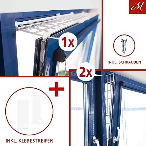 M.Versand Kippfenster-Schutzgitter Set, Kunstoff, 3-tlg, Oben/Unten ausziehbar, weiß - 75-125x16 cm, inkl. Schrauben & Klebes