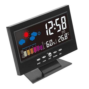 Electrónica Digital de la Temperatura del LCD Monitor de Humedad Reloj termómetro higrómetro electrónico de Interiores: previsión del Reloj: Amazon.es: ...