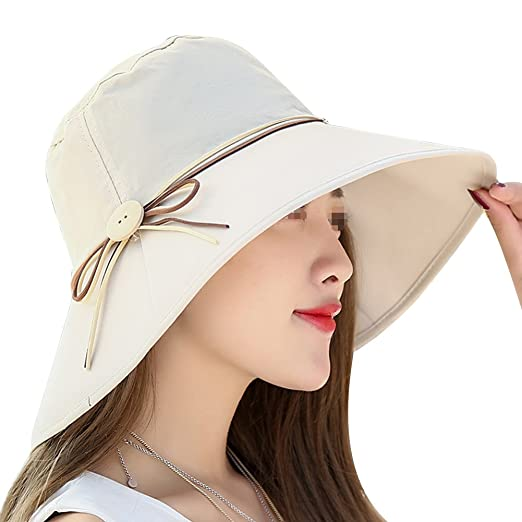 40d3c37295fbe Womens Summer Beach Foldable Wide Large Brim Sun Hat Anti UV Sun Cap Bucket  Hats Beige