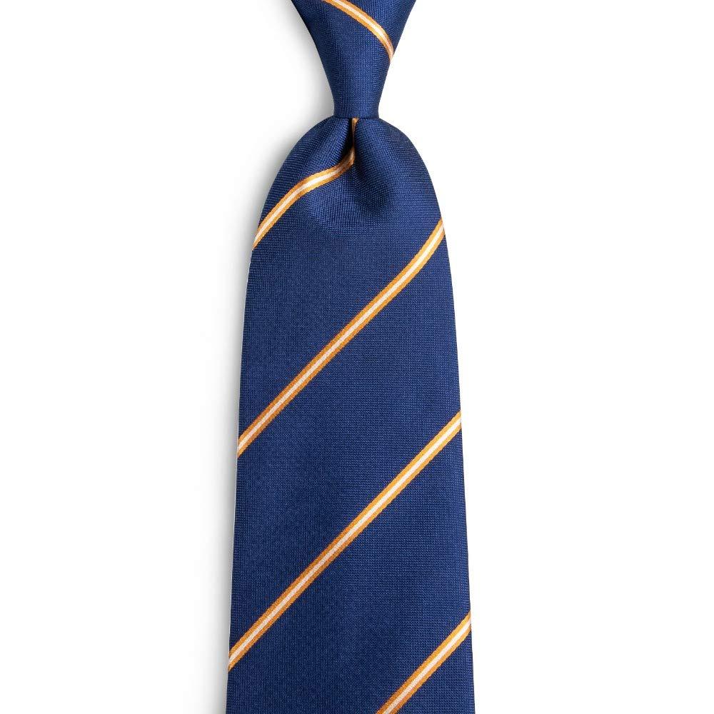 KYDCB 100% Seda Azul Rayas Rayas Amarillas Hombres Hombre Corbata ...