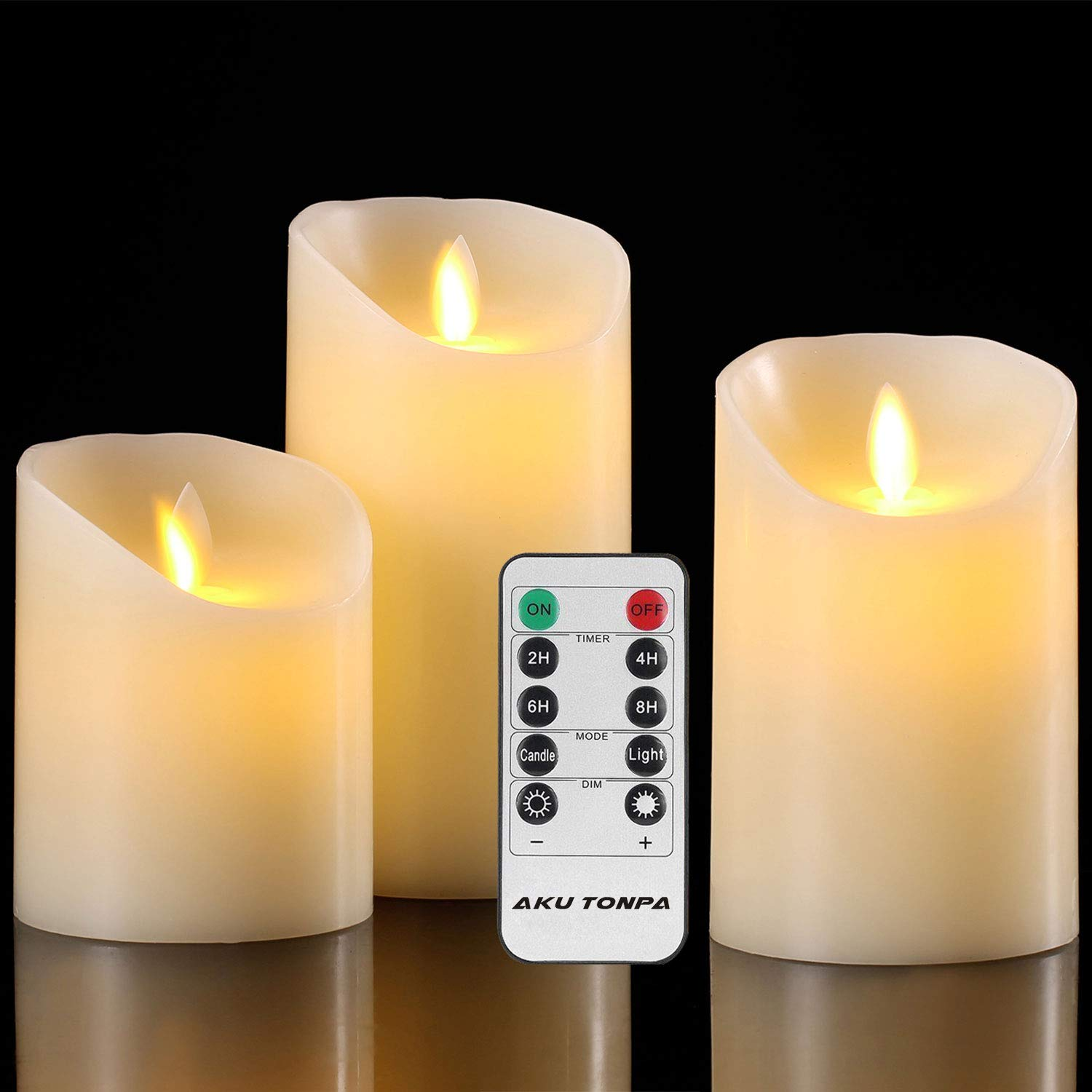 Aku Tonpa Flameless Candles Battery Operated Pillar Real Wax Flickering Moving Wick Electric LED Candle Gift Set with Remote Control Cycling 24 Hours Timer, Pack of 3 (D:3.25'' X H:4'' 5'' 6'')