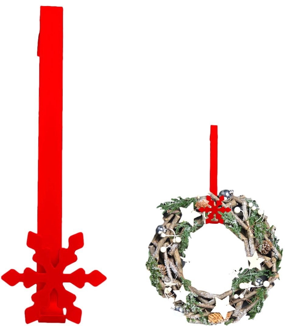 1x Snowflake Over The Door 'Christmas' Wreath Hanger- Red or White (Red) Theme Machine