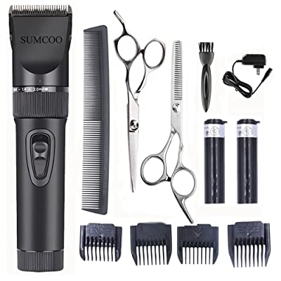 SUMCOO Hair Clippers, Low Noise Cordless Baby Grooming Clippers And Hair Trimmer for Men and Kids ,2 Rechargeable Batteries, 4 Combs (Black)