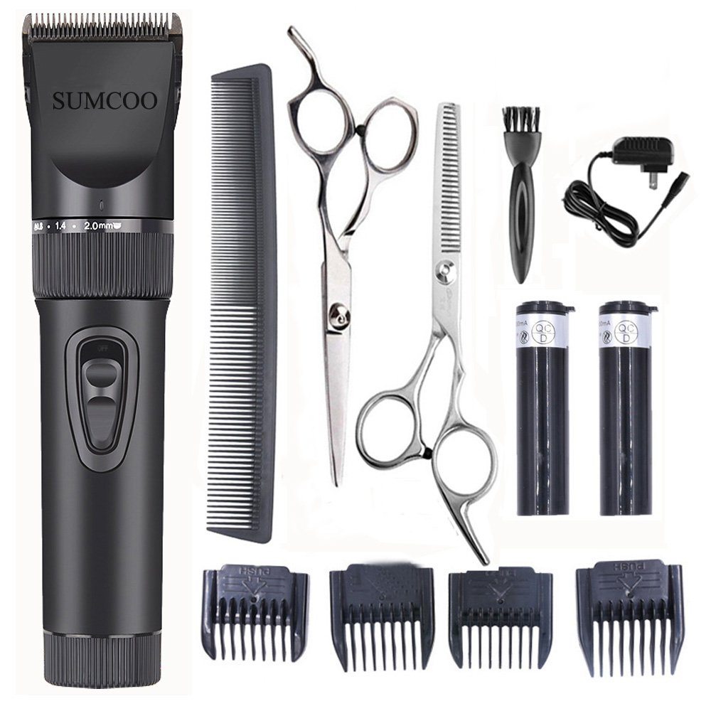 SUMCOO Hair Clippers, Low Noise Professional Cordless Kids Grooming Clippers And Hair Trimmer for Man and Baby 2 Rechargeable Batteries, 4 Combs (Black) clipper black-X7