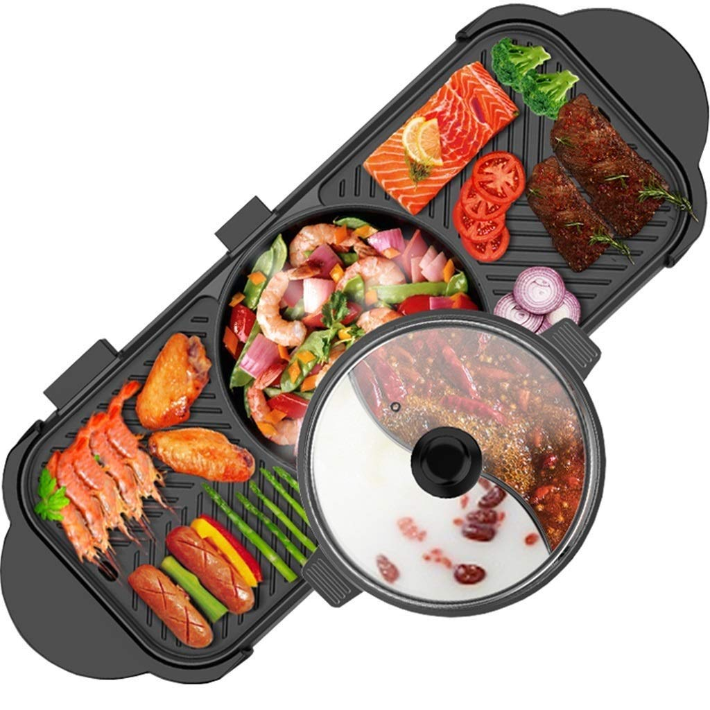 Yyqthg Barbecue Pot- Double-Controlled Barbecue Hot Pot Multi-Function Frying and Cooking Korean Household Smoke-Free Non-Stick Electric Hot Pot Separable Shabu-shabu by Yyqthg