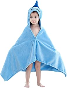 INSHERE Hooded Bath Shower Towel for Toddler Kids Boy Girl Poncho Wrap Cover Up Bathrobe Fast Dry Soft Thick Summer Beach Swim Pool 24''X 47'' Blue Shark
