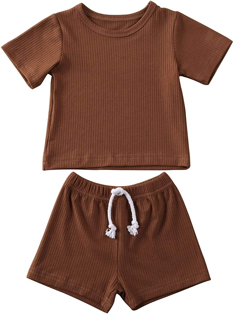 Kosusanill Newborn Toddler Baby Girl Boy Shorts Set Cotton Linen Knitted Ribbed Outfit 2Pcs Summer Casual Clothes