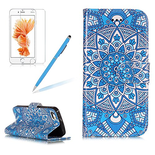 Case for iPod Touch 5/6,Girlyard Colorful Painting Premium PU Leather+TPU inner Book Style Magnetic Closure Flip Stand Feature with Screen Protector for iPod Touch 6/iPod Touch 5-Mandala