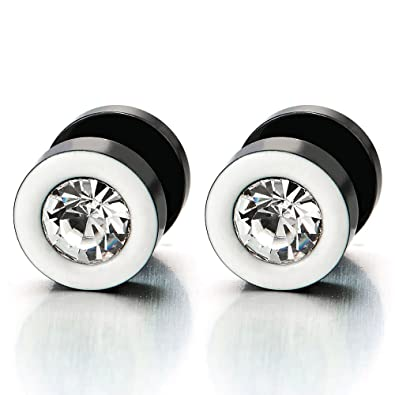 Mens Womens White Black Stud Earrings Steel Illusion Tunnel Plug Screw Back with Black Cubic Zirconia ssuFD1cys