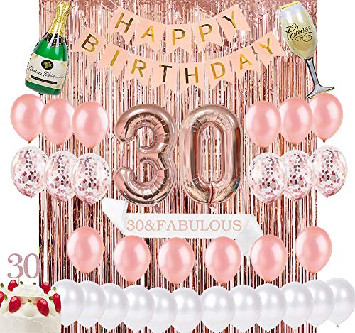Sllyfo 30th Birthday Decorations Party Supplies Kit - 30th Birthday Gifts for Womens,30th Cake Topper|Banner|sash|Rose Gold Curtain Backdrop Props|Confetti Balloons|Champagne Balloon. (30)