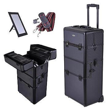 Amazon.com : Pro Cosmetic Makeup Artist Rolling Aluminum Train Case Hair Style Box Black : Professional Hair Travel Case : Beauty