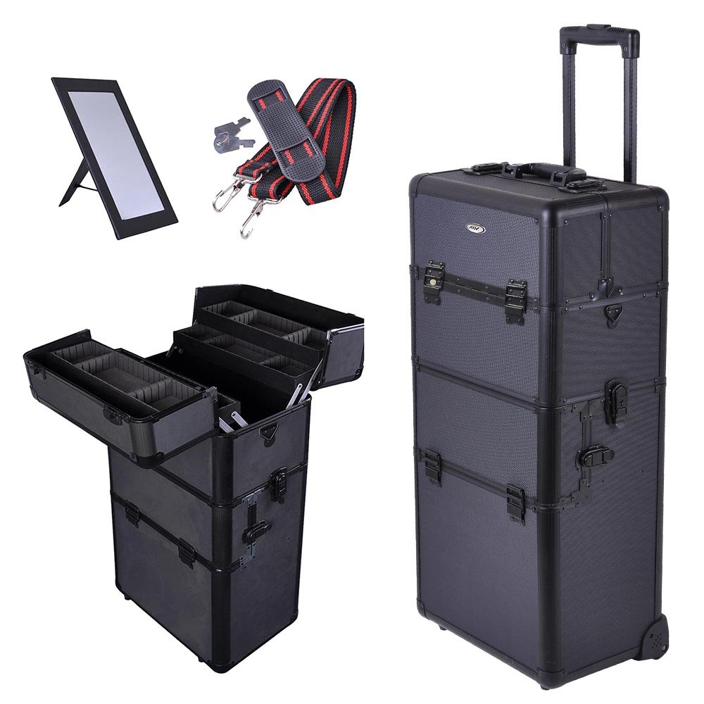 AW 2in1 Black 38'' Makeup Aluminum Rolling Cosmetic Train Case Hair Style Lockable Box