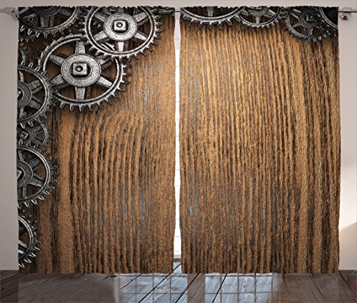 Ambesonne Industrial Decor Collection, Gear Wheels on top Left Corner Timber Design Mechanical Mechanism Engine Style, Living Room Bedroom Curtain 2 Panels Set, 108 X 90 Inches, Peru Wood Dimgrey