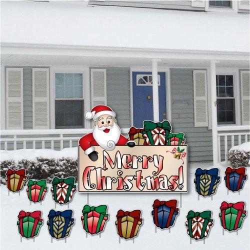 (Merry Christmas! Santa and Presents - Christmas Lawn Display/Yard Card Set – 13 pcs total)