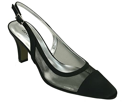 David Tate Vegas Womens Clogs-And-Mules-Shoes, Black Satin Mesh,