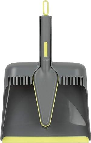 Casabella Wayclean Handheld Angled, Medium, Gray Dustpan and Brush Set, Green and Taupe
