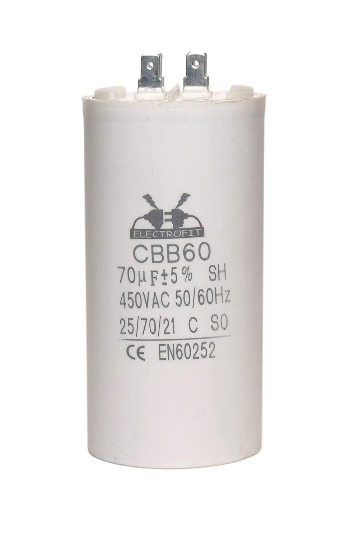 Condensador de motor Electrofit CBB60 450 V, CA, 70 uF