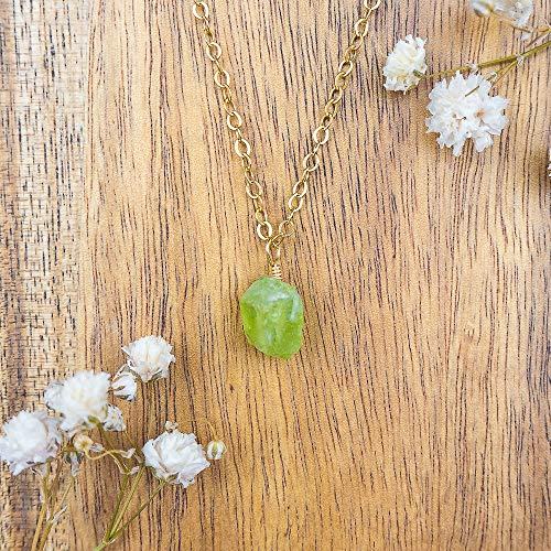 Tiny raw peridot gemstone pendant necklace in 14k gold fill - 16