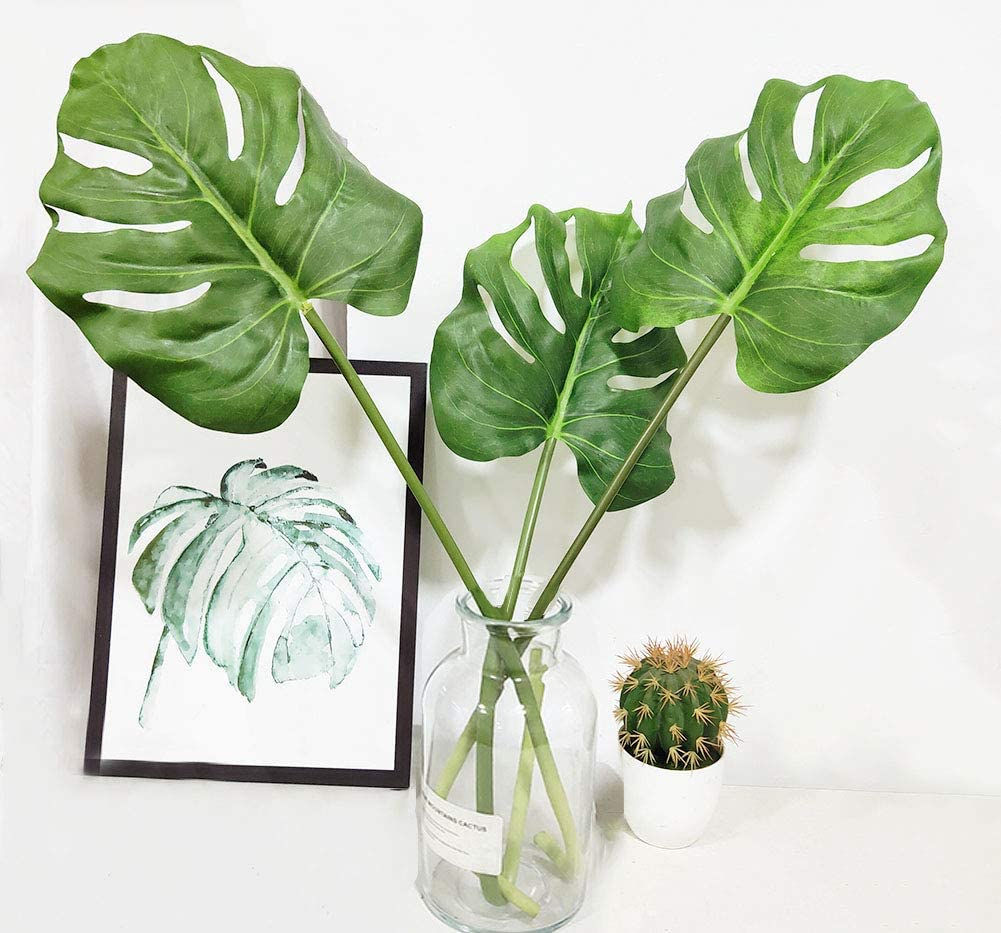 3 Pcs Large Artificial Tropical Monstera Palm Tree Leaves for Home Decorations, 30""