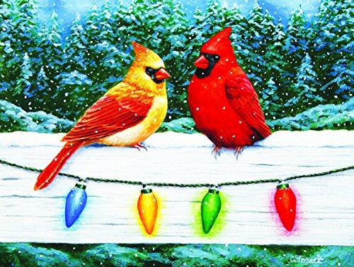 Christmas Cardinal Greeting 300 Pc Jigsaw Puzzle - Christmas bird theme - by (Cardinals Santa)