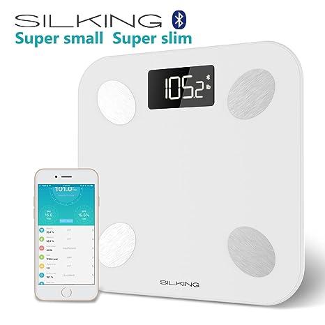 SILKING Bluetooth Escala de grasa corporal Mini Báscula de Baño Digital con Análisis Corporal Electrónico,