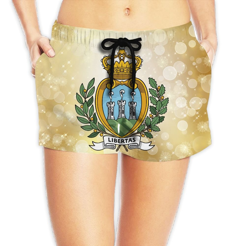 Coat of Arms of San Marino Women Fashion Sexy Quick Dry Lightweight Hot Pants Waist Beach Shorts Swimming Trunks