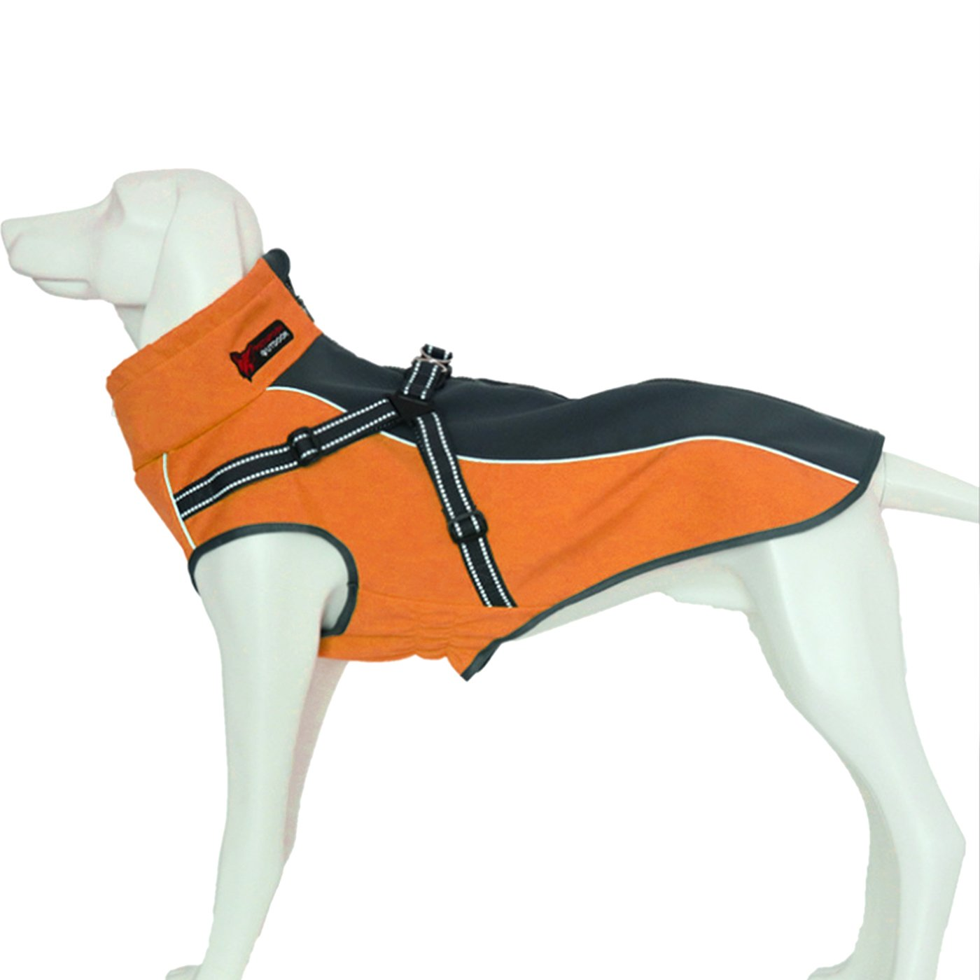 Alfie Pet by Petoga Couture - Brady Waterproof Coat with Built-in Harness - Color Orange, Size: XS