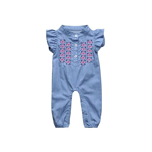 8a3bf5367 Amazon.com  Molyveva Baby Girls Toddler Summer Romper Jeans Jumpsuit ...